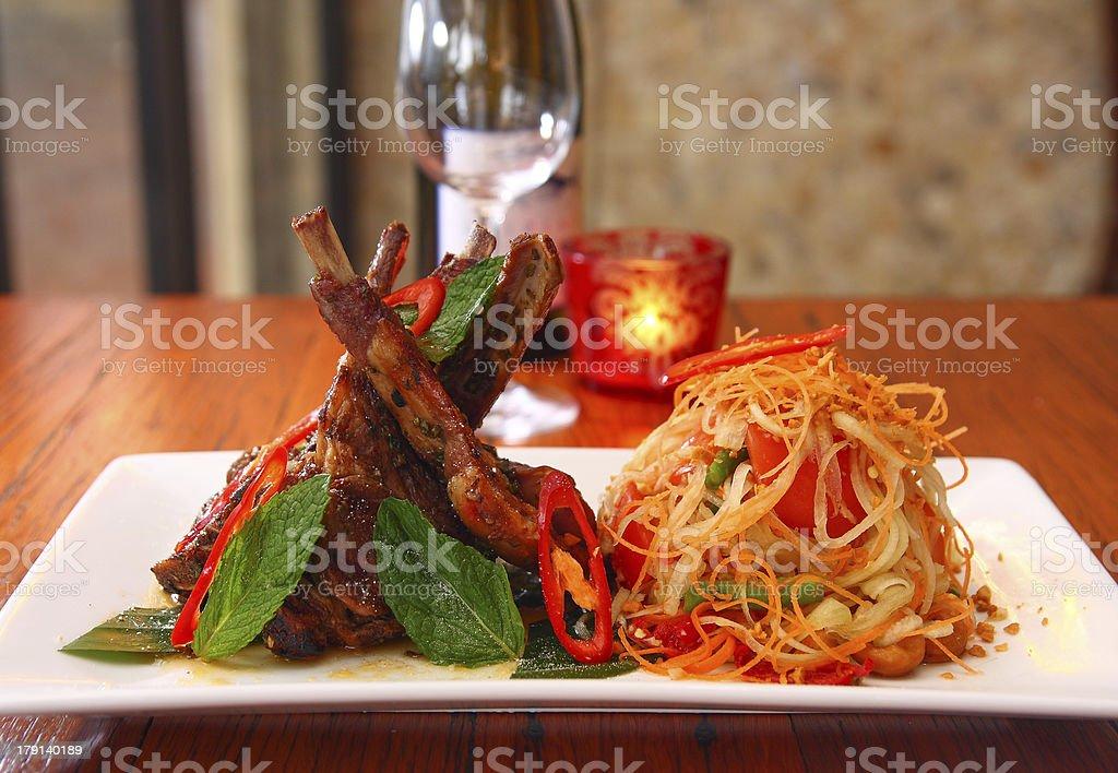 Grill lamb with papaya salad royalty-free stock photo