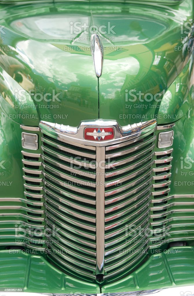 Grill of 1948 International Pickup Truck stock photo