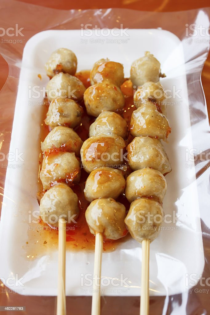 grill pork ball with spicy and sweet auce stock photo