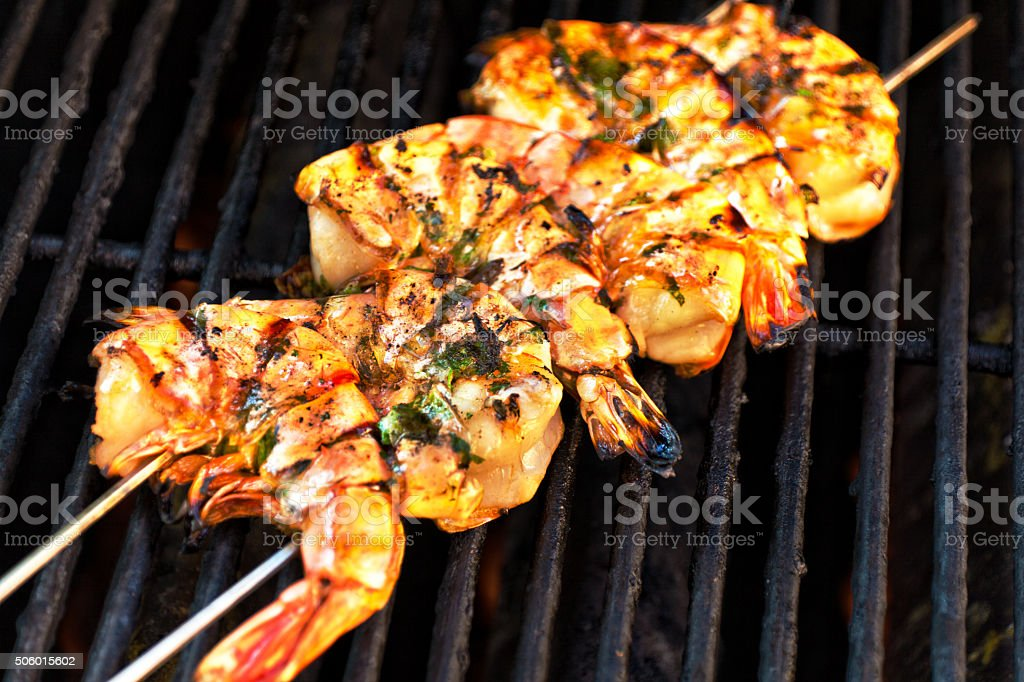 Grill prawns Large Shrimps on Skewer stock photo