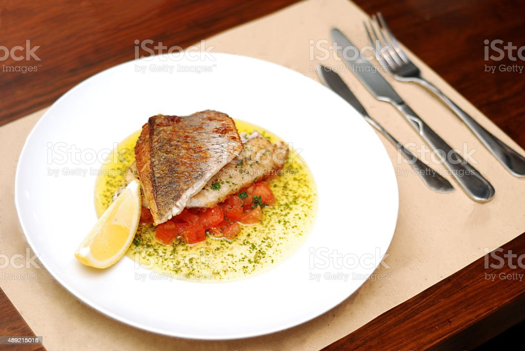 Grill Sea Bass stock photo