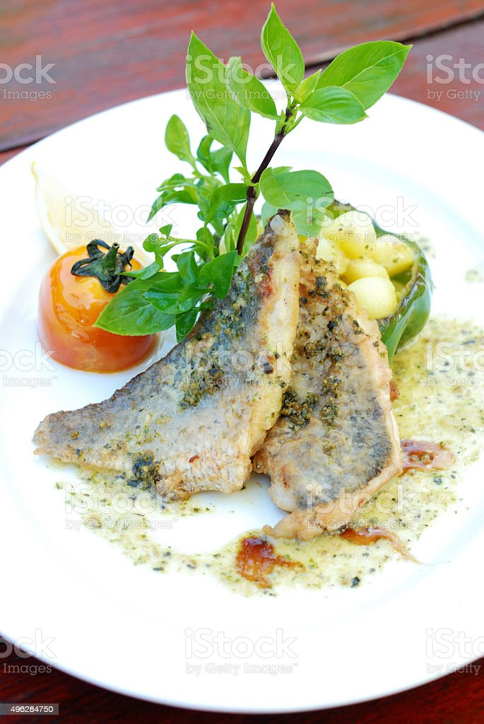Grill Seabass stock photo