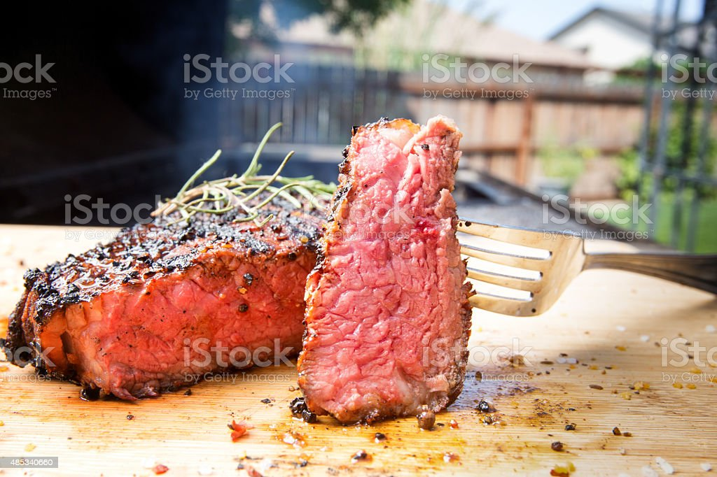 Grill Side New York Beef Steak stock photo