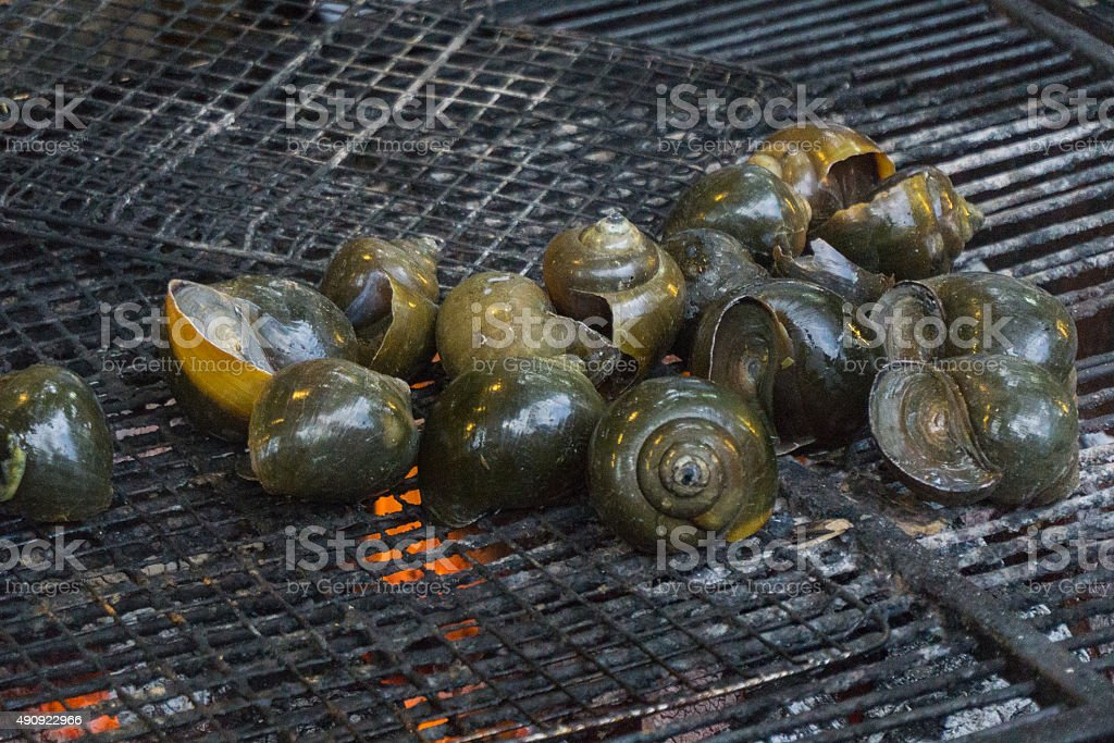 Grill snails stock photo