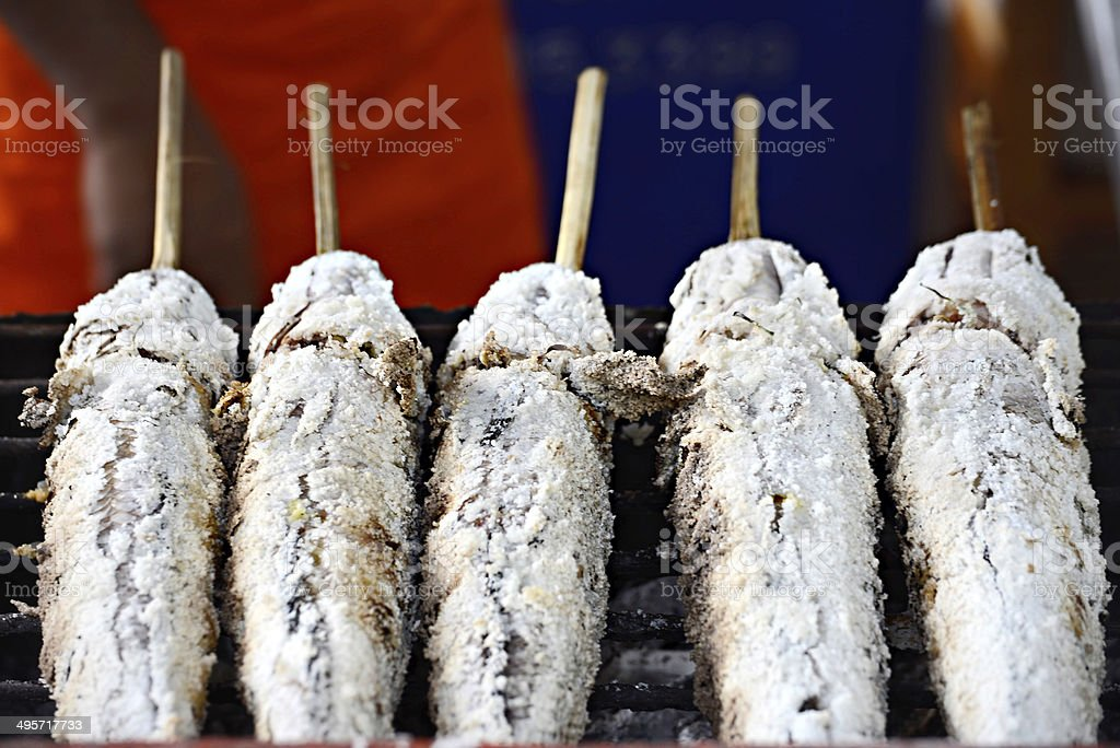 Grill snake head fish with salt coated stock photo