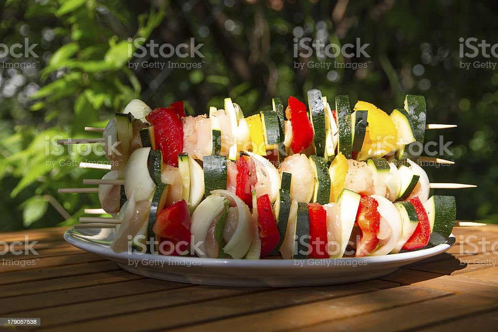 Grill spits on a plate stock photo