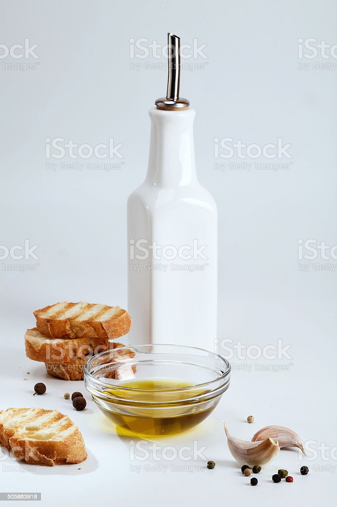 Grill Toasted Bread and Condiments stock photo