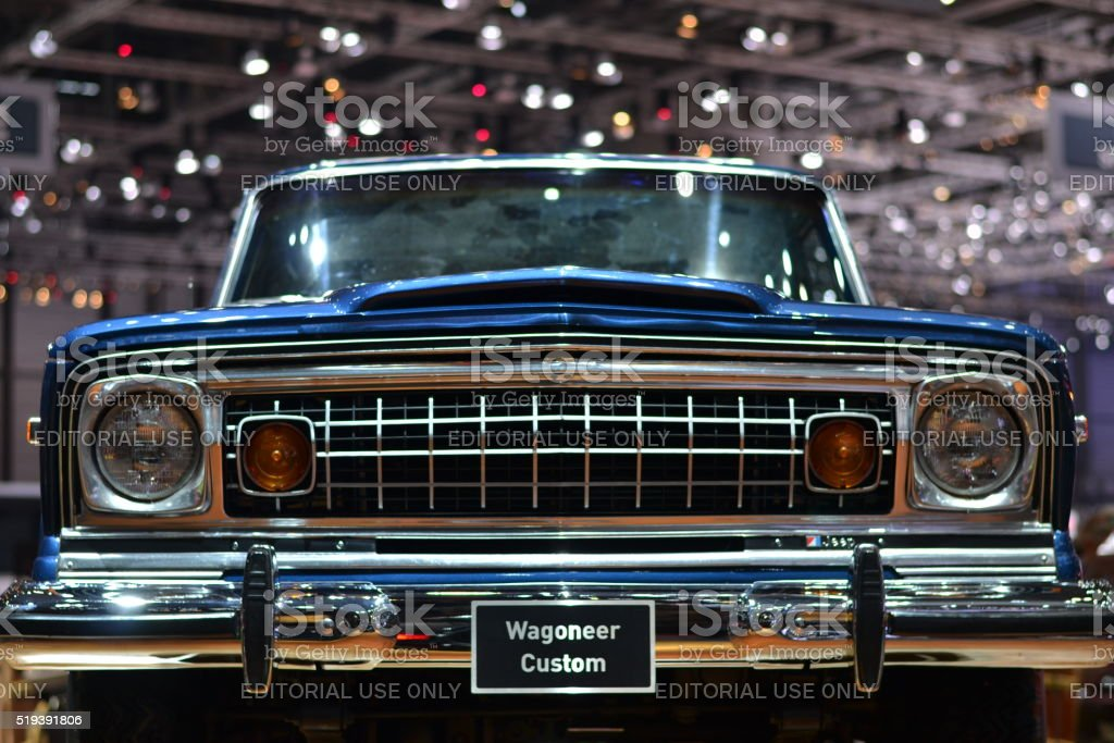 Grille and headlights in classic Jeep Wagoneer stock photo