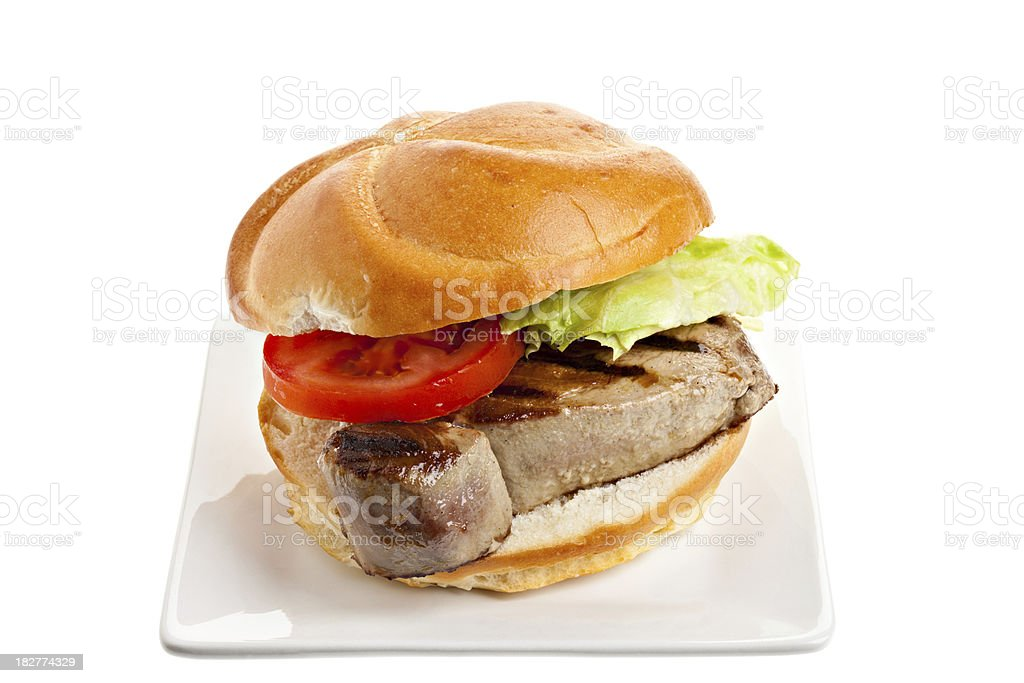 Grilled Ahi  (Yellowfin) Tuna Sandwich royalty-free stock photo