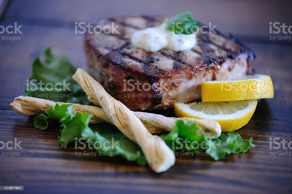 Grilled Ahi Tuna Steak royalty-free stock photo