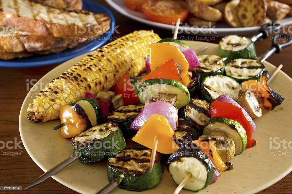Grilled and BBQ vegetables on skewers  stock photo