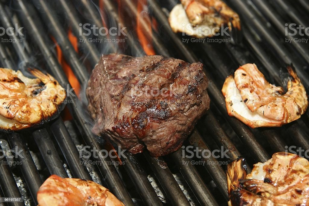 grilled angus beef steak with prawns stock photo
