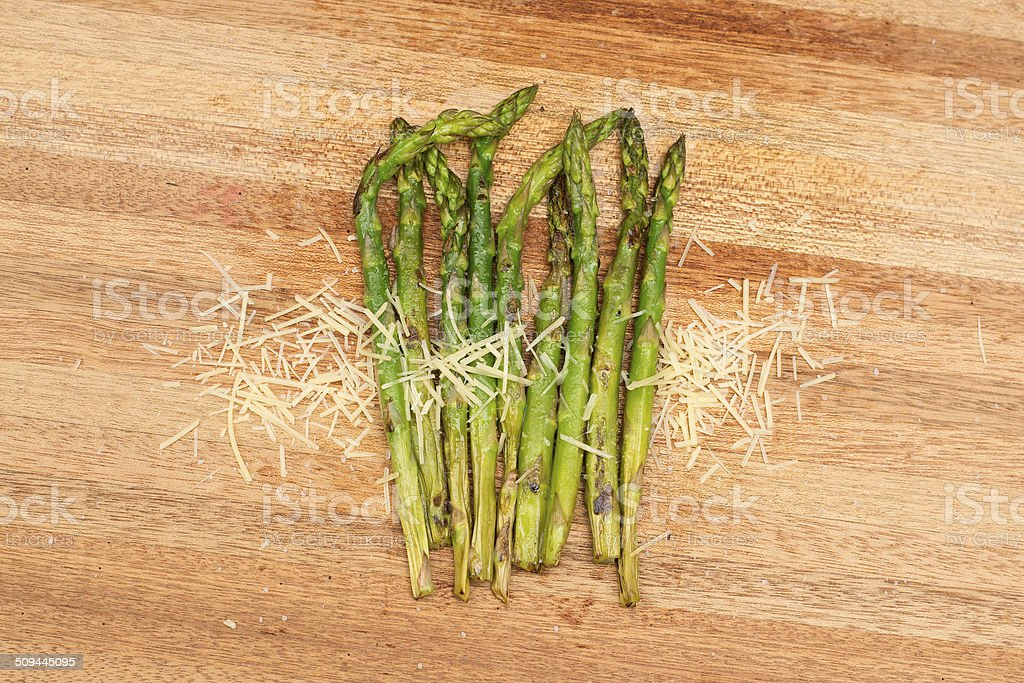 Grilled asparagus and parmesan cheese. royalty-free stock photo