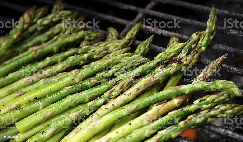 grilled Asparagus over flame royalty-free stock photo