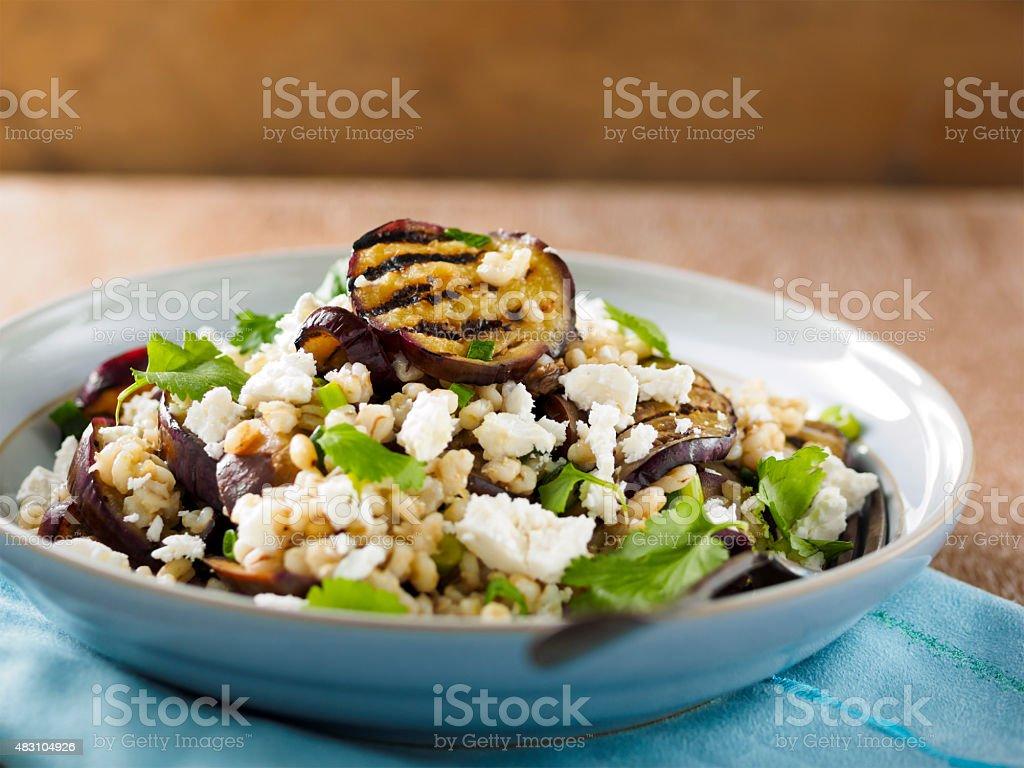 Grilled aubergine salad stock photo