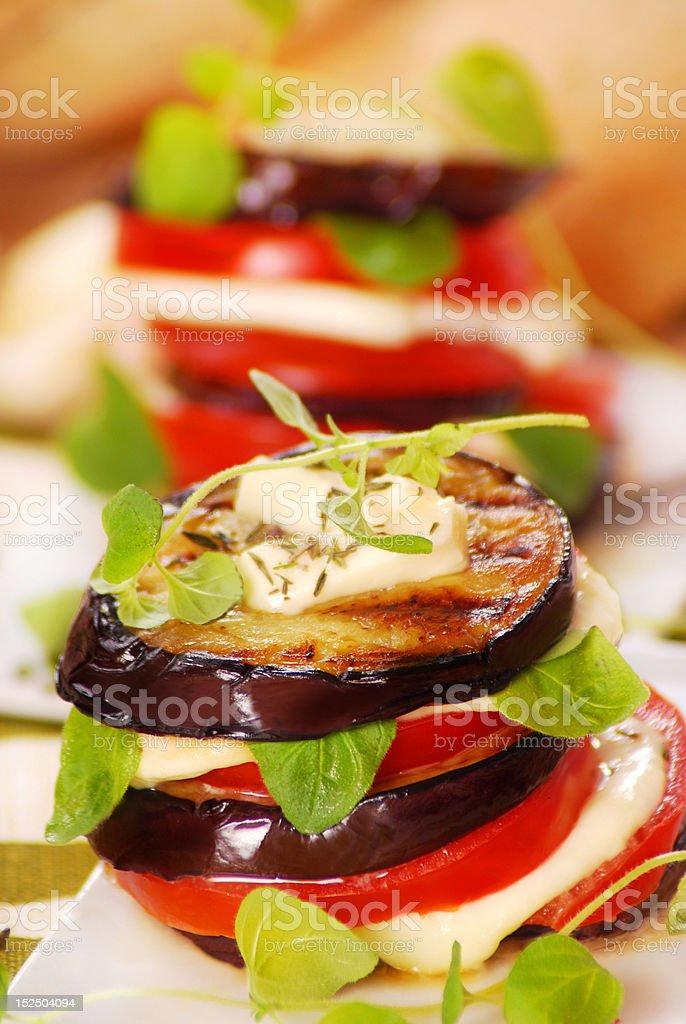 grilled aubergine,tomato and mozzarella stock photo