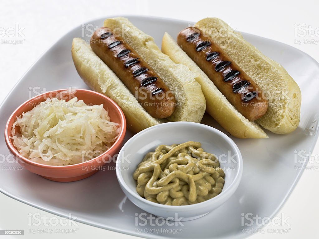 Grilled Austrian Wienerwurst hot dogs royalty-free stock photo