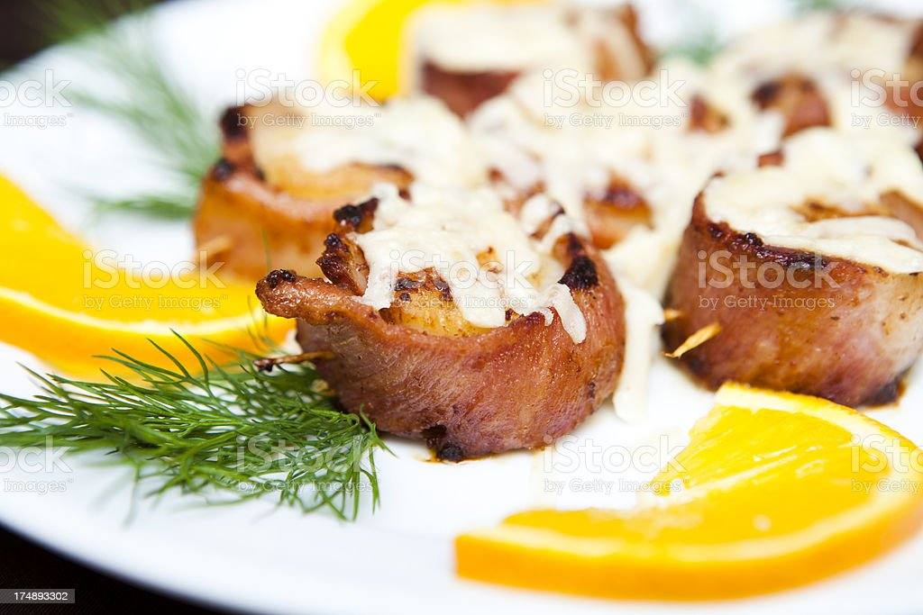 Grilled Bacon Rolls royalty-free stock photo