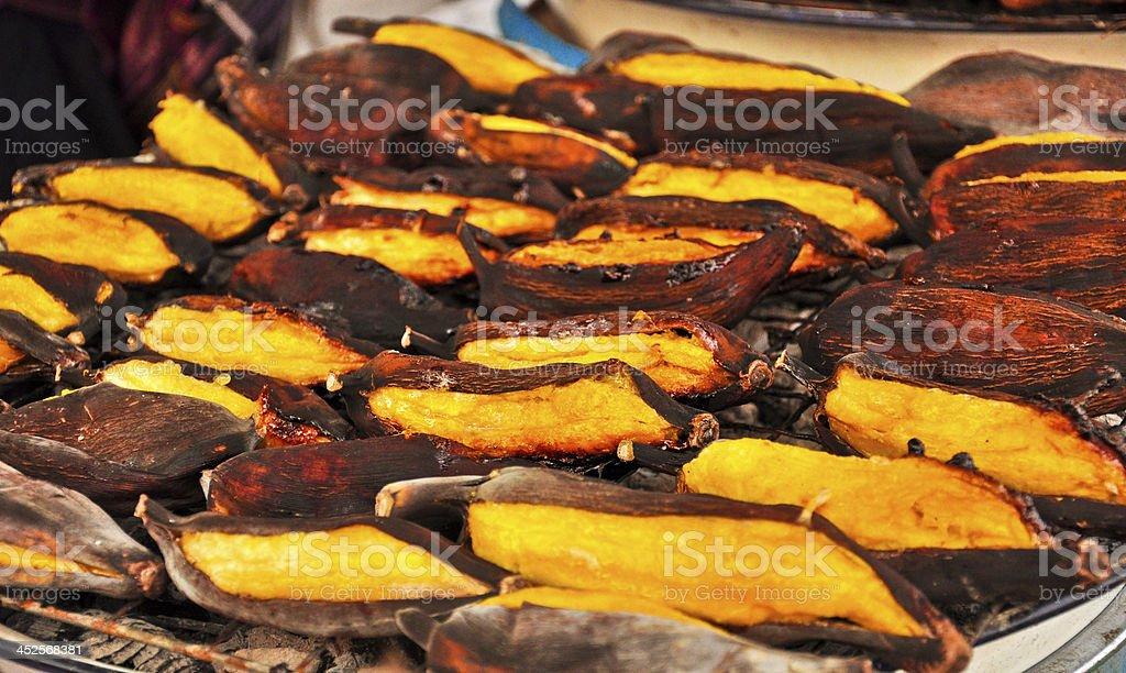 Grilled Banana (Thai's dessert) in Ayutthaya, Thailand stock photo
