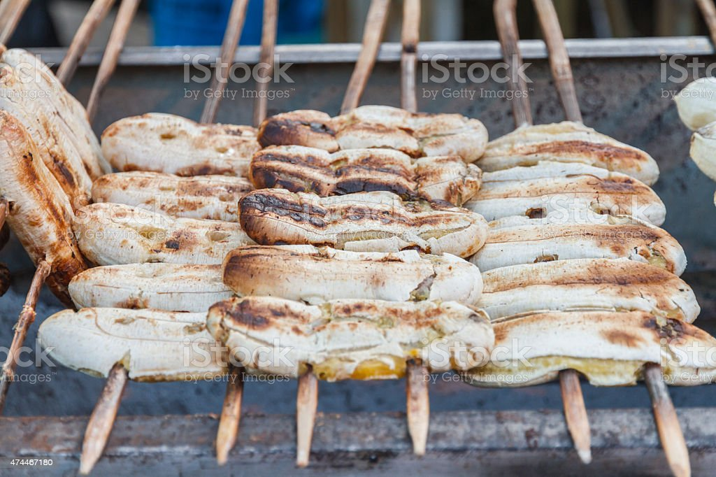 Grilled banana in market stock photo