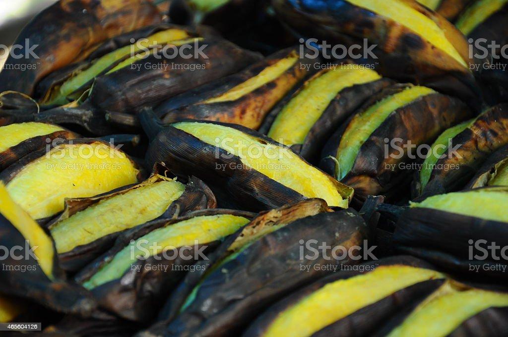 Grilled banana stock photo