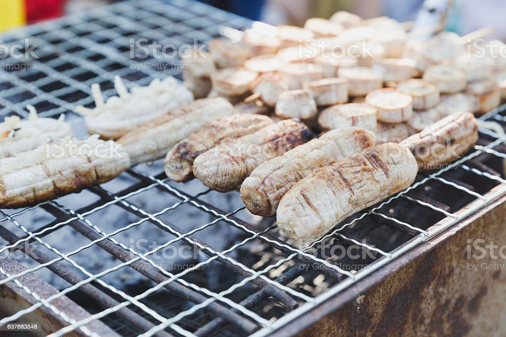 Grilled bananas on the rack, dessert in Thailand stock photo