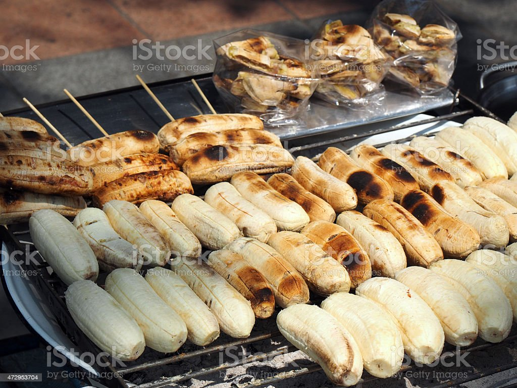 grilled bananas stock photo