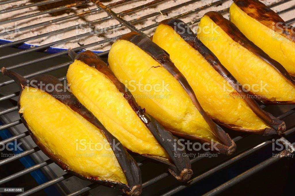grilled bananas (Thai dessert) stock photo