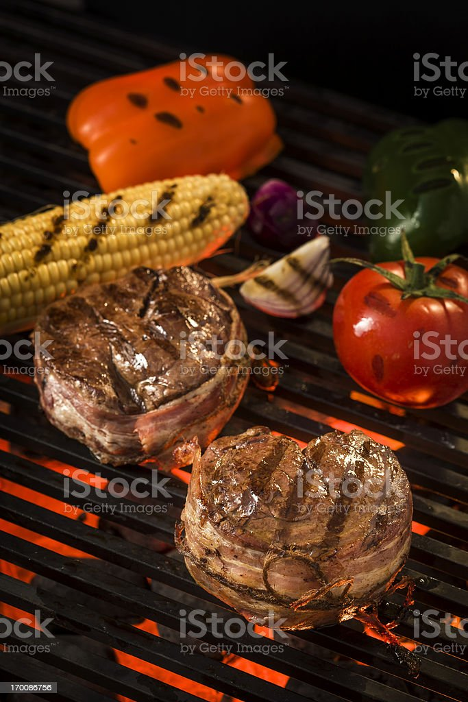 Grilled barbecue Filet Mignon with vegetables royalty-free stock photo