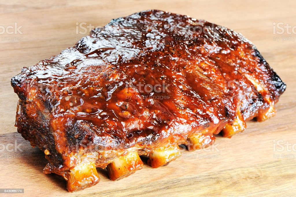 Grilled barbecue ribs stock photo