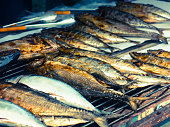 Grilled BBQ Barbeque Tuna Fish Street Food Seafood Market