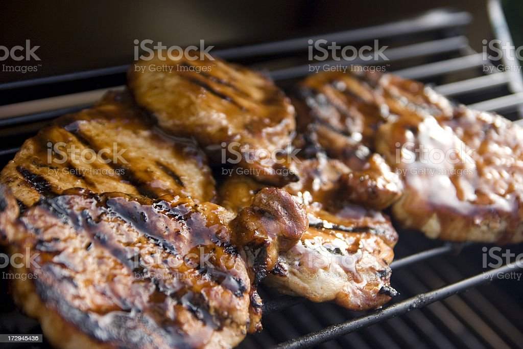 Grilled BBQ Pork Chops royalty-free stock photo