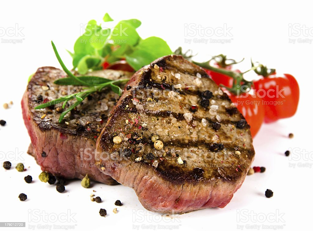 Grilled bbq steak on white background royalty-free stock photo