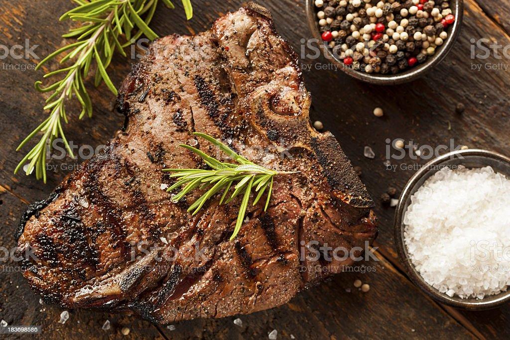 Grilled BBQ T-Bone Steak stock photo