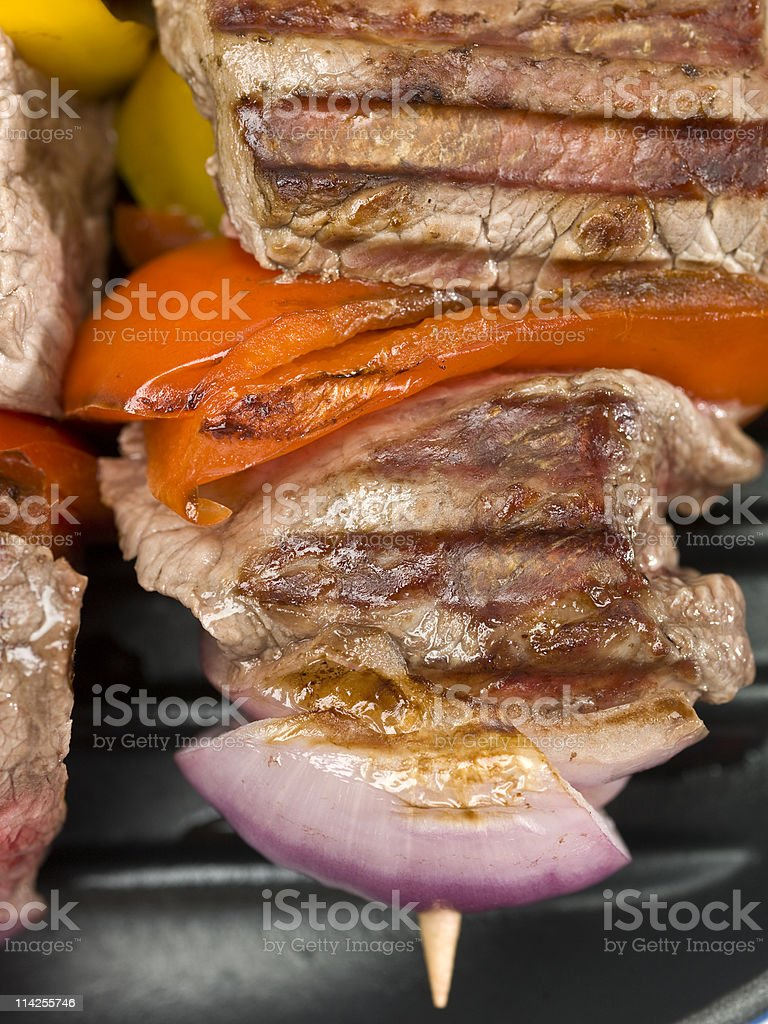 Grilled Beef Brochette stock photo
