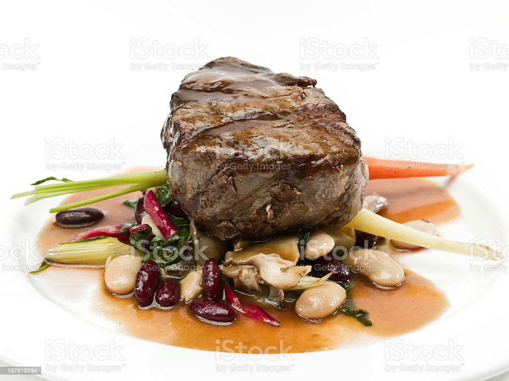 Grilled Beef  Filet Mignon with Beans royalty-free stock photo