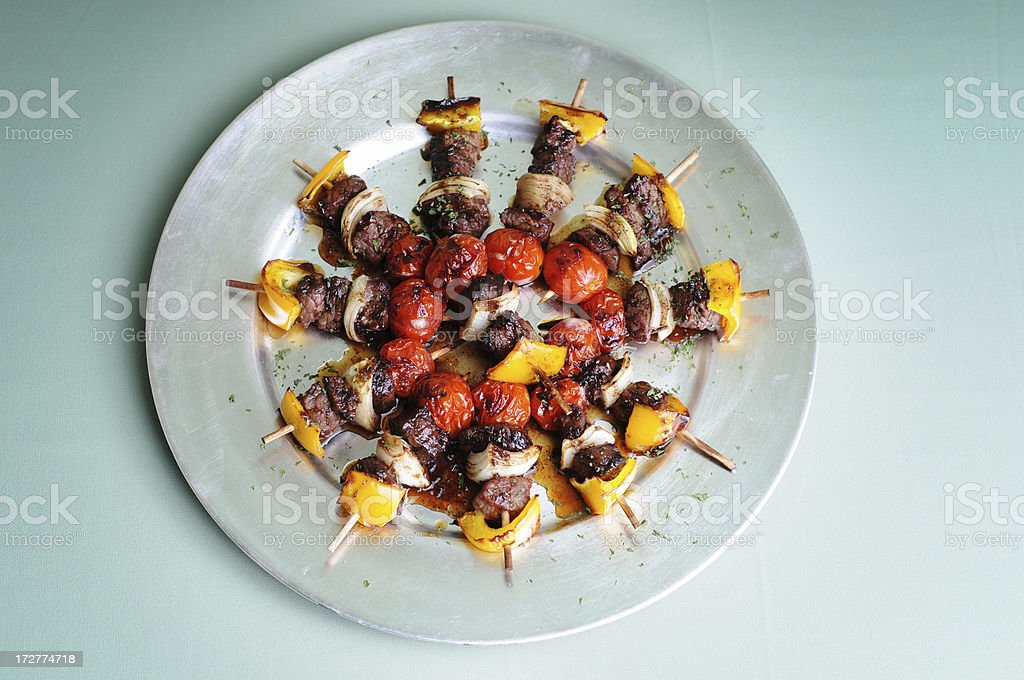 Grilled Beef Kebabs royalty-free stock photo