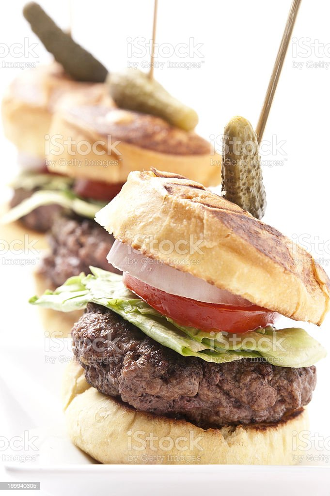 Grilled Beef Mini burgers stock photo