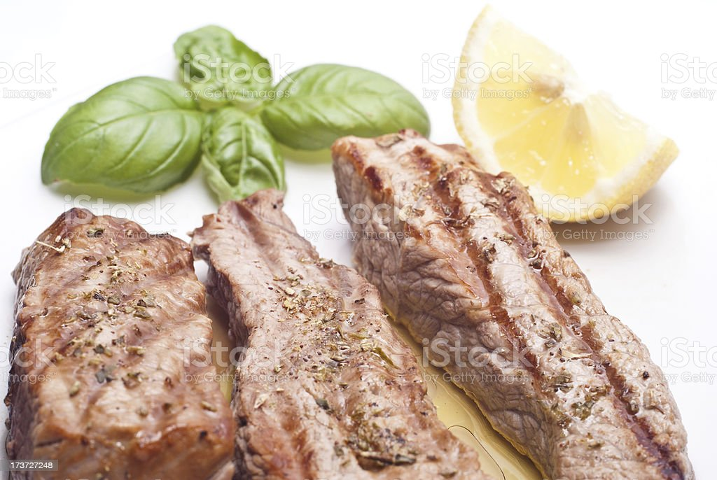 Grilled beef sliced stock photo