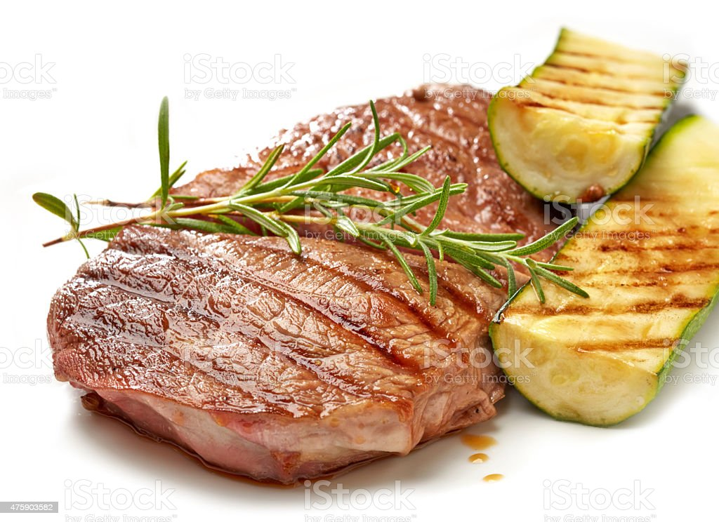 grilled beef steak and zucchini stock photo