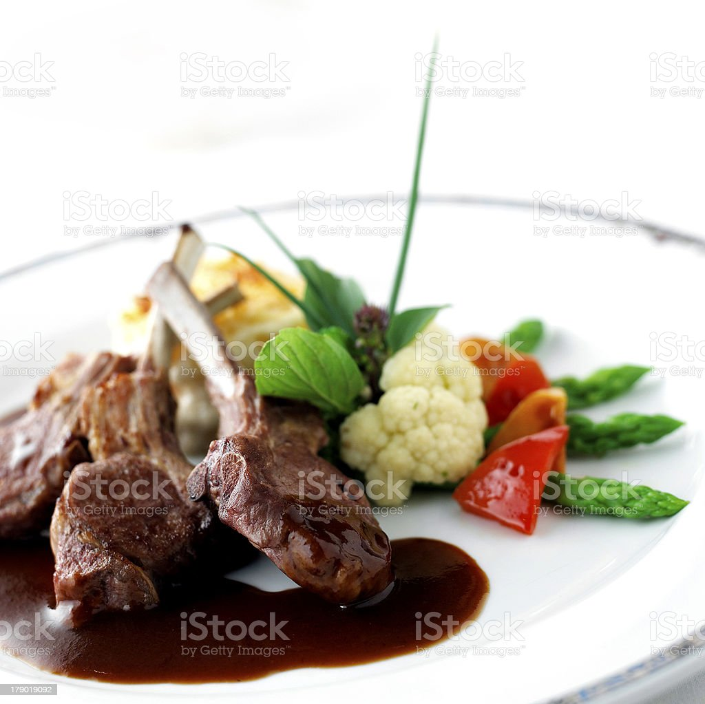 RAM, Grilled beef steak on the grilling pan indoor royalty-free stock photo