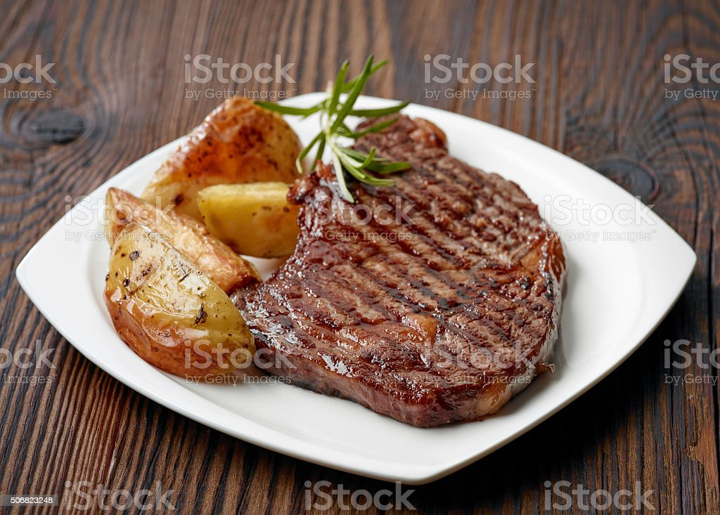 grilled beef steak stock photo