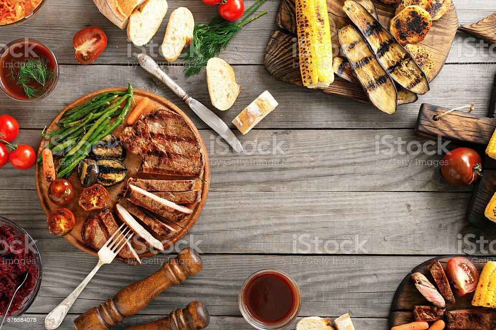 Grilled beef steak with grilled vegetables with copy space stock photo