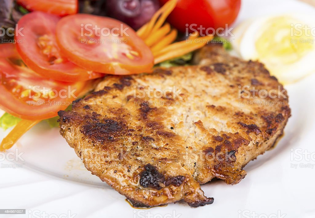 Grilled beef steak with salad royalty-free stock photo