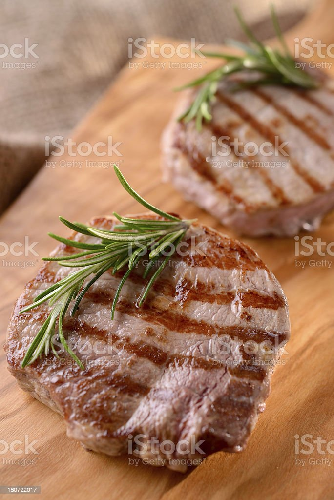 Grilled beef with rosemary royalty-free stock photo