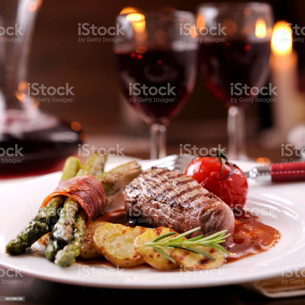 Grilled beef with vegetables stock photo