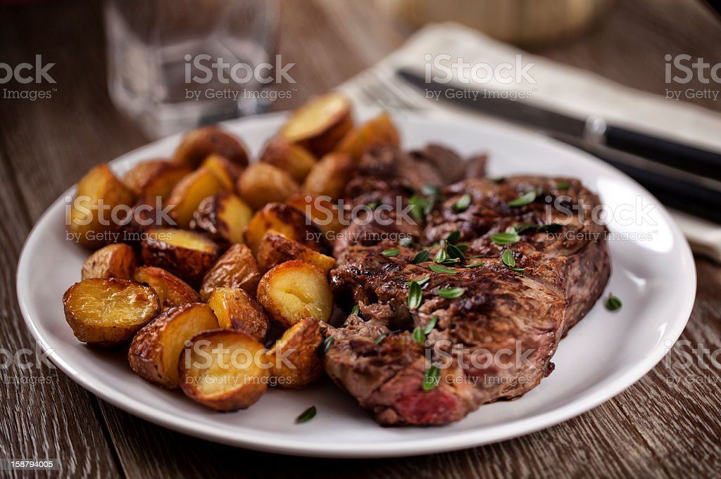 Grilled beefsteak with potateos stock photo