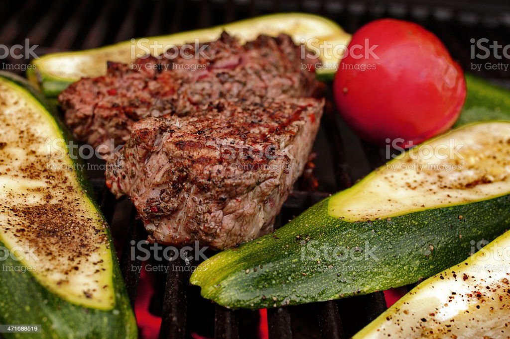 Grilled beef,zucchini, tomato. royalty-free stock photo