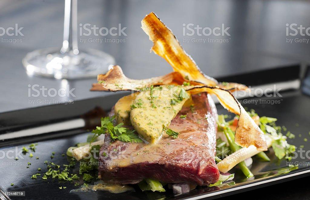 grilled black angus steak stock photo