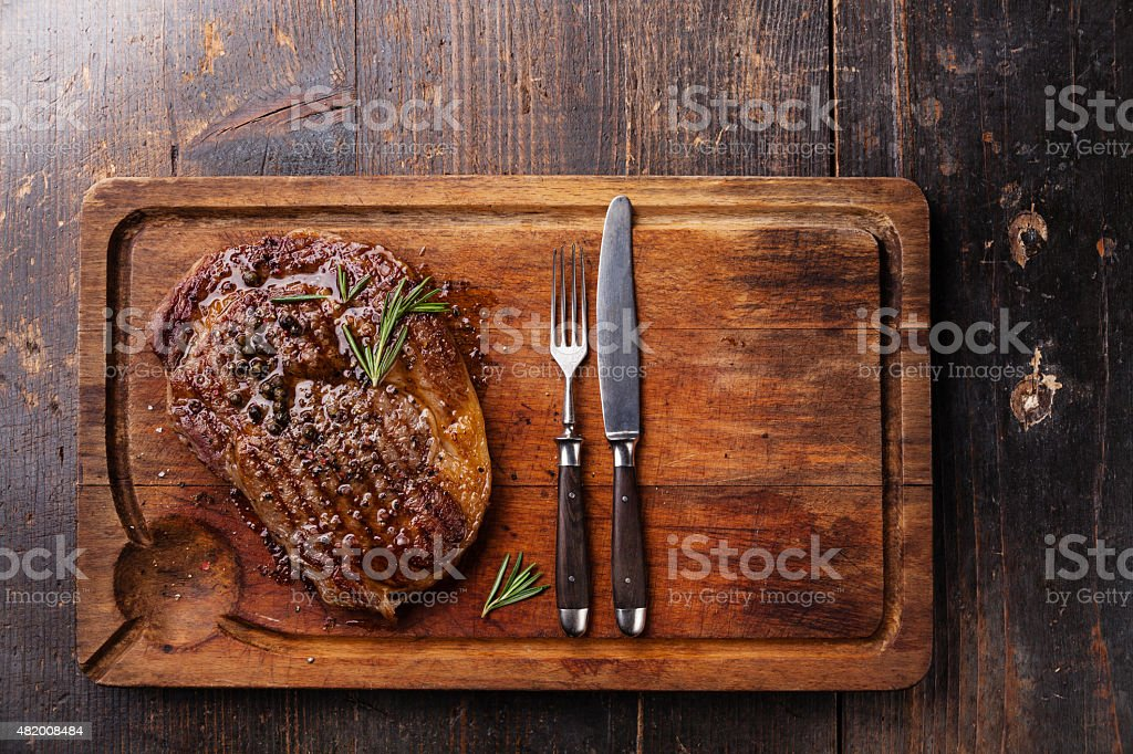 Grilled Black Angus Steak Ribeye stock photo